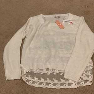 GB cream brand new sweater with lace back